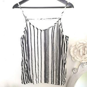 I.joah Black & white stripe high low cami top